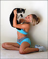 Picture Title - Young woman and cat