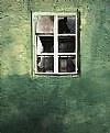Window on green wall